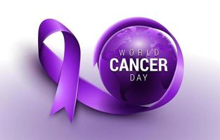 World Cancer Day Purple Awareness Ribbon Concept