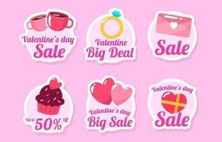linda colección de pegatinas de marketing y promoción del día de san valentín vector