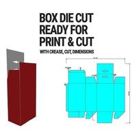 Box Die Cut Cube Template with 3D Preview organised with cut, crease, model and dimensions