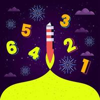 Count Down Celebration with Fireworks Show Concept vector
