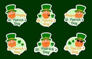 Cute Leprechaun St Patrick's Day Sticker Collection vector