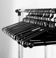 Black and white of plastic hangers