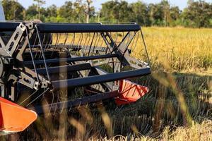 Close-up of a harvesting machine