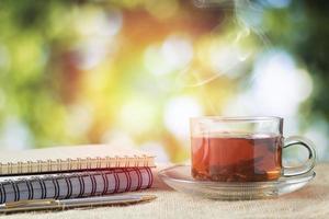Hot glass of tea photo