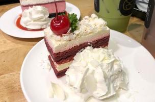 Close-up of cherry cakes photo