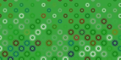 Patrón de vector verde oscuro con elementos de coronavirus.