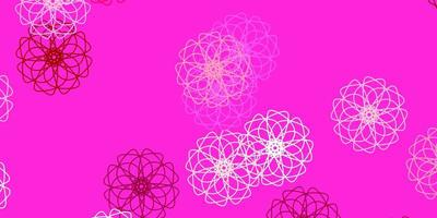 Light pink vector doodle texture with flowers.