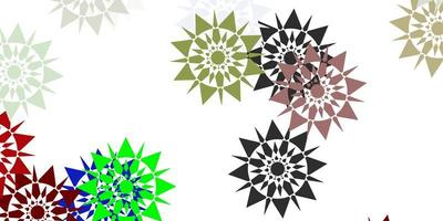 Light multicolor vector beautiful snowflakes backdrop with flowers.