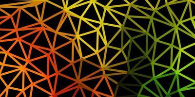 Fondo de triángulo abstracto de vector verde claro, amarillo.