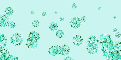 patrón de vector verde claro con copos de nieve de colores.