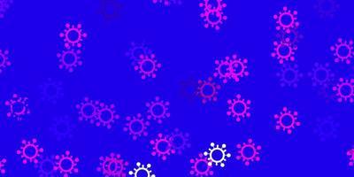 textura de vector púrpura claro, rosa con símbolos de enfermedad
