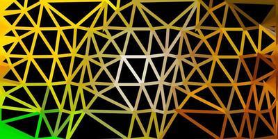 Fondo de mosaico de triángulo vector verde oscuro, amarillo.