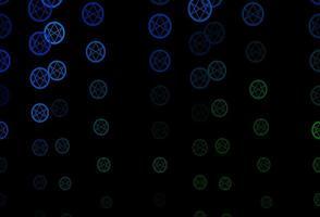 textura de vector azul oscuro, verde con símbolos religiosos.