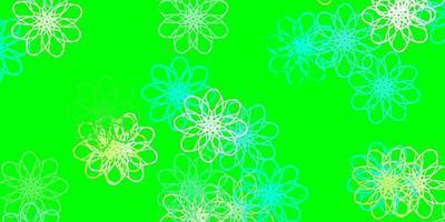 textura de doodle de vector azul claro, verde con flores.