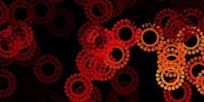 Fondo de vector rojo oscuro, amarillo con símbolos covid-19.