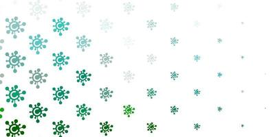 patrón de vector verde claro con elementos de coronavirus