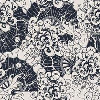 Monochrome seamless vector pattern with chrysanthemums.