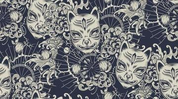 Monochrome pattern with a Kitsune mask on the Japanese theme. vector