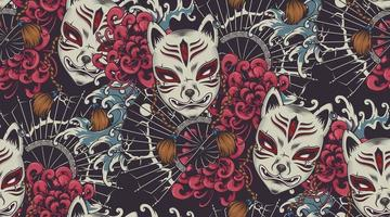 Japanese theme vector seamless pattern with a Kitsune mask.