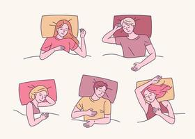 Various sleeping poses vector