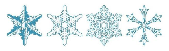 Set vector icon snowflake on white background