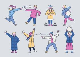 Snow ball battle people vector