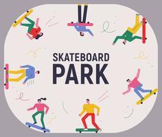 cartel del parque de patinetas vector