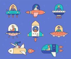 Spaceship icon set