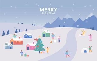 Snowy small village scenery. vector
