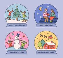 Christmas cute illustration snow globe.