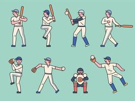 lindo juego de caracteres de jugador de béisbol. vector