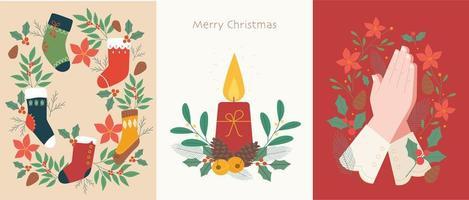 postal de ilustración de Navidad. vector