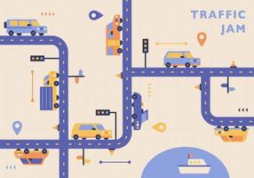 los coches corren en una línea complicada. vector