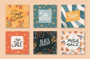 Set of square sale banner templates vector