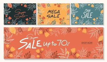 Horizontal sale banner template in various different colors