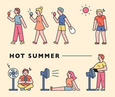 verano caluroso y gente. vector