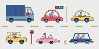 Various cars running on the road. vector