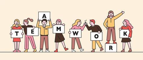 Web banner of teamwork concept.