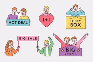 oferta especial, caja de la suerte, etiqueta adhesiva de evento de gran venta.