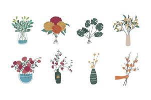 Set of botanical vases vector