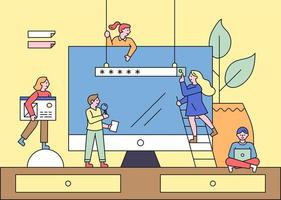 Online business concept web banner template. vector