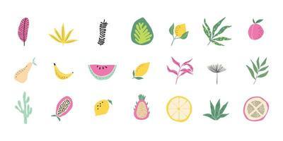 colección contemporánea de frutas tropicales y hojas de bosque