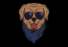 Golden retriever sunglasses vector illustration