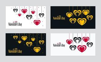 Ornate Horizontal Valentines Day Cards with Hanging Heart Shapes Set vector