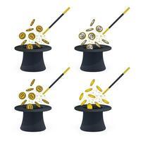 Coins, magic wand, hat and magic stars set vector