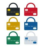 Padlock shaped credit card icons set vector
