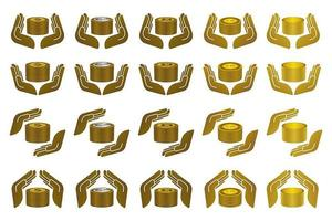 Hand icons with currencies set vector