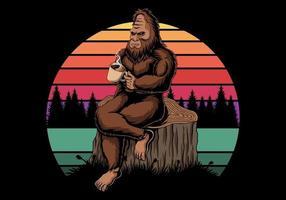 Bigfoot relajante con café cerca de la ilustración de vector retro al atardecer