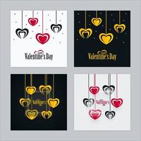 Valentines Day Cards with Heart Shapes and Transparent Glass Set vector