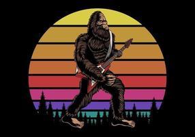 Bigfoot playing guitar near sunset retro vector illustration